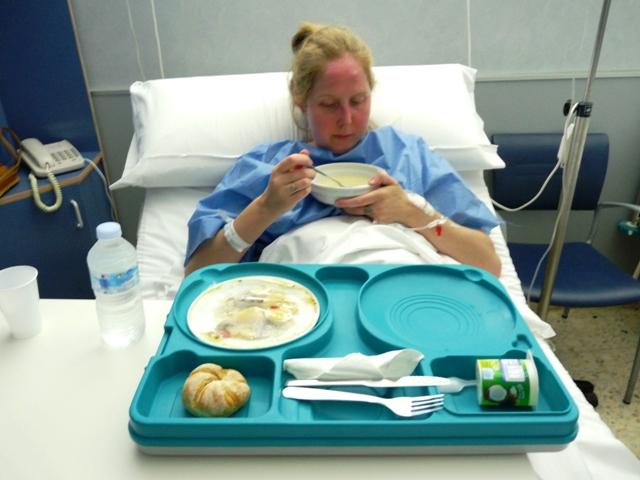De maaltijden in dit privé ziekenhuis waren echt ... ehm ... onsmakelijk.